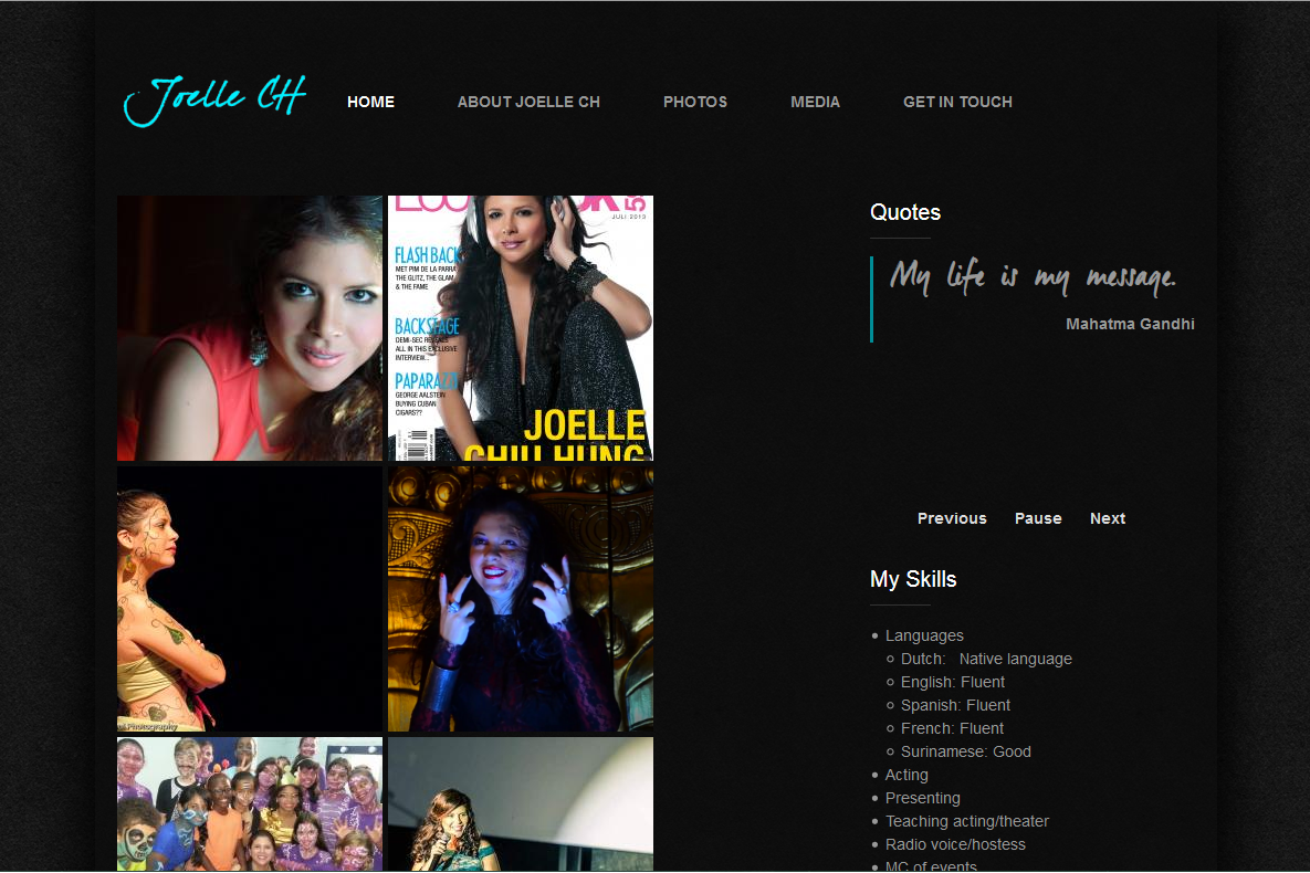JoelleCH homepage screenshot